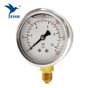 60 mm nerūdijančio plieno korpuso žalvario prijungimo dugno tipo manometras 150PSI tepalo užpildytas manometras